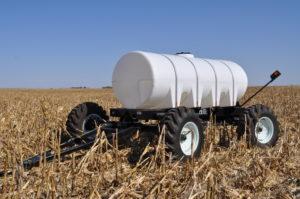 Steerable Fertilizer Cart In Corn Field